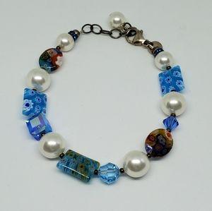 Emily Ray Millefiori Sterling Faux Pearl Bracelet